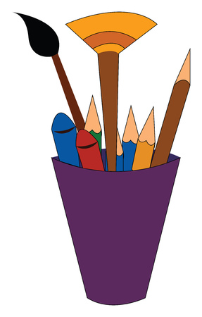 A cup holding several pencils crayons and paintbrush vector color drawing or illustration