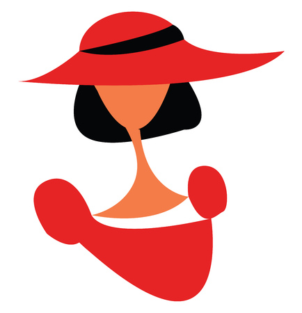 A woman wearing an over sized red hat and a red frock vector color drawing or illustration