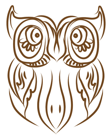 An owl with huge ears and enormous eyes vector color drawing or illustration
