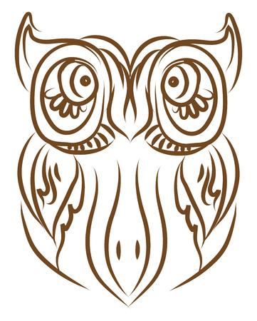 Un búho con orejas enormes y ojos enormes color de dibujo o ilustración vectorial