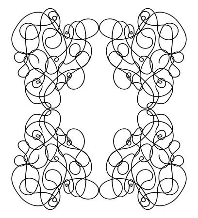 A random doodle of lines forming a rectangular frame vector color drawing or illustration Çizim