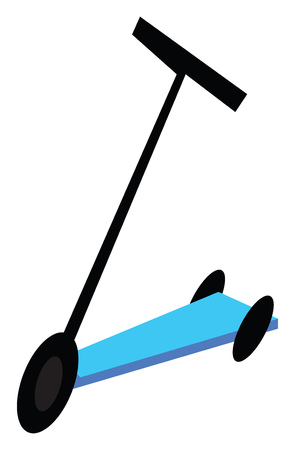 A three wheel blue colored scooter vector color drawing or illustration