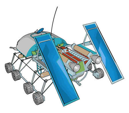 Sci-fi space rover vector illustration on white background