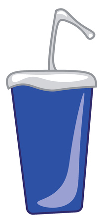 A blue sipper with a straw vector color drawing or illustration Ilustração