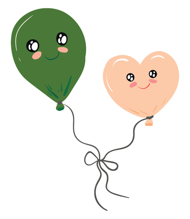 Two balloons tied together vector or color illustration Vektorgrafik