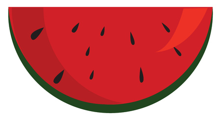 Slice of fresh watermelon illustration print vector on white background