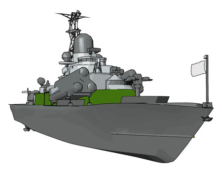 3D vector illustration on white background of a  green and grey military boat