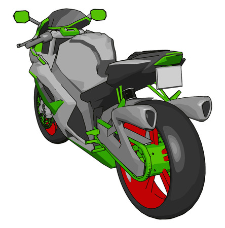 3D vector illustration on white background of a grey red and green motorcycle