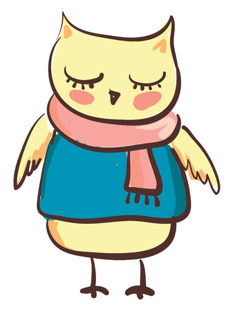 An owl with his eyes closed wearing a blue tshirt and a peach scarf draped around its neck vector color drawing or illustration