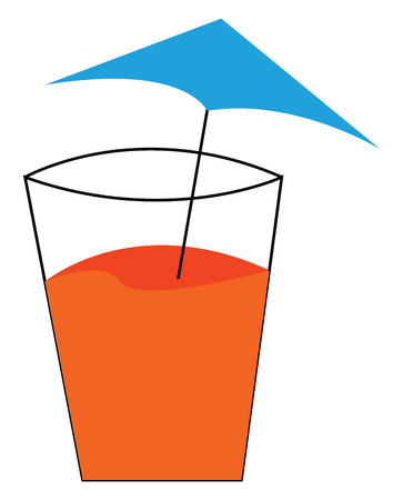 A glass filled with orange juice and a blue umbrella on top of it vector color drawing or illustration 일러스트