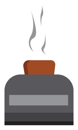 An image of a bread being toasted inside a gray toaster vector color drawing or illustration