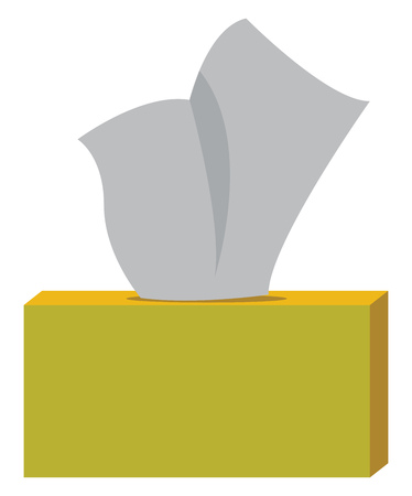 A rectangular yellow box containing tissue paper vector color drawing or illustration Ilustração