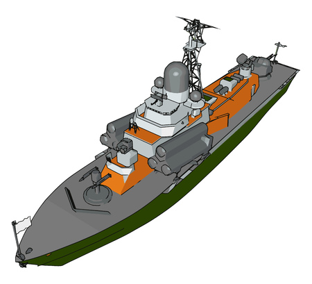 3D vector illustration on white background of a green grey and orange military boat