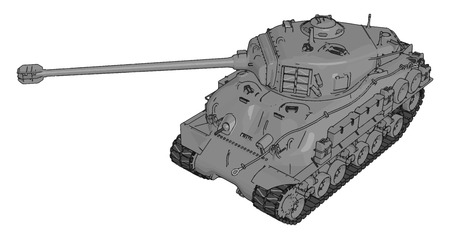 3D vector illustration on white background of a gray military tank