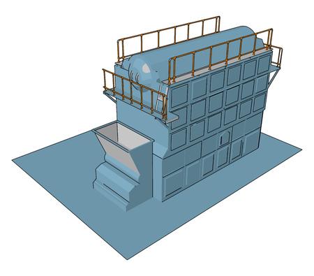 Blue industrial sack packer vector illustration on white baclground