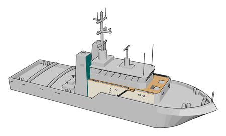 Simple cartoon of a white navy battle ship vector illustration on white background