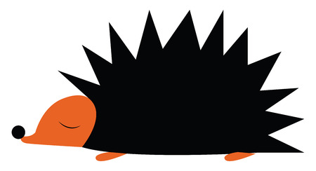 A cartoon of a hedgehog with his eyes closed vector color drawing or illustration