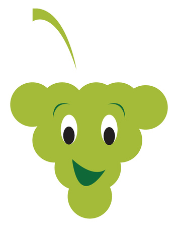 A cartoon of green colored grape grinning