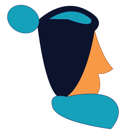 A man with sharp nose who has his blue hair in a bun vector color drawing or illustration Illusztráció