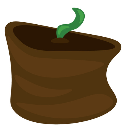 A seedling is sprouting from a brown earthen pot vector color drawing or illustration Illustration