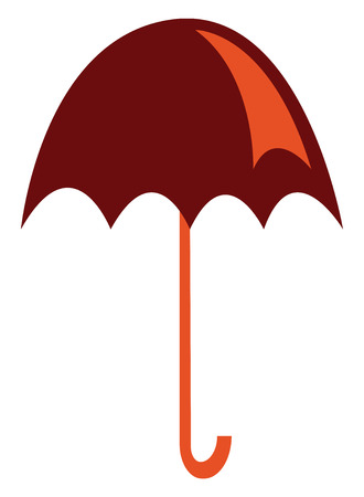 An image of a red umbrella which is open vector color drawing or illustration