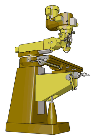 Yellow drill press vector illustration on white background