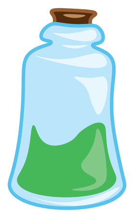 A flask containing elixir vector color drawing or illustration Stock Illustratie