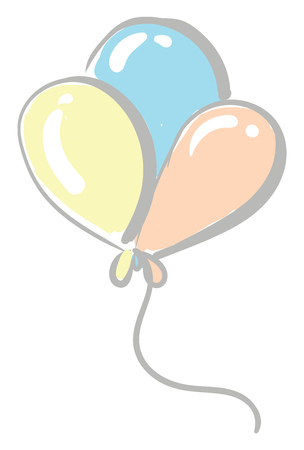 Three colorful balloons tied together vector or color illustration