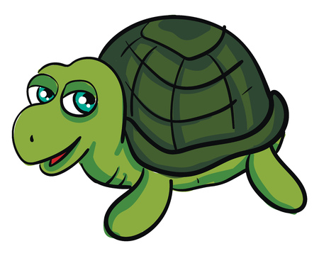 Cute green turtle smiling vector illustration on white background Ilustração