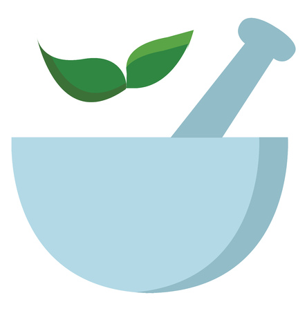 Light blue mortar with two green leaves vector illustration on white background