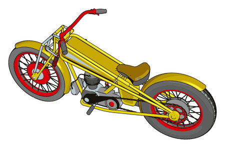 Red and yellow vintage chopper motorcycle vector illustration on white background