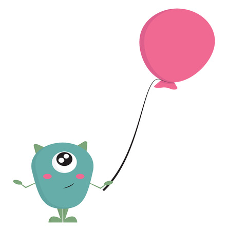 Light blue one-eyed smiling monster with green horns holding a pink balloon  vector illustration on white background