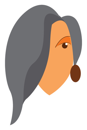 An oval faced lady with grey colored hair and small oval earrings