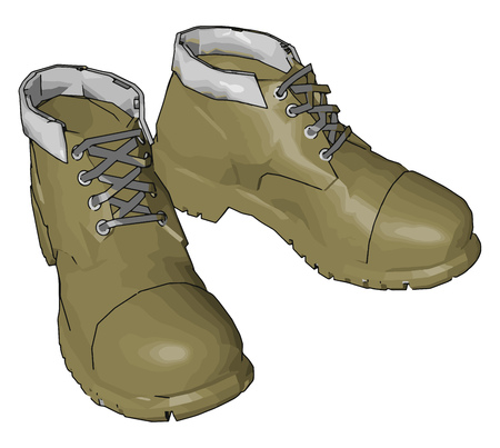 Beige military boots vector illustration on white background