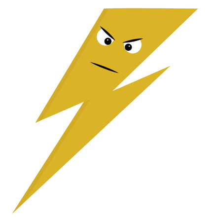 Angry yellow lightning  vector illustration on white background