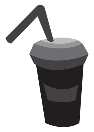 A black sipper with black straw vector color drawing or illustration