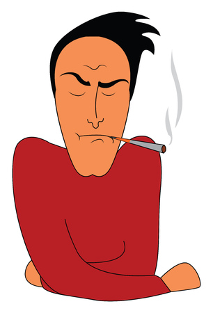 A man is smoking cigarette with a tensed expression on his face vector color drawing or illustration Stock Illustratie
