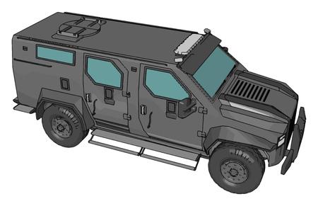 3D-Vektor-Illustration auf weißem Hintergrund eines grauen bewaffneten Militärfahrzeugs