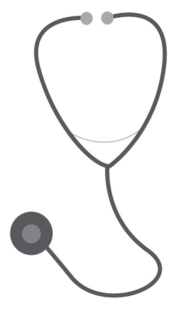 A grey stethoscope vector color drawing or illustration Illustration