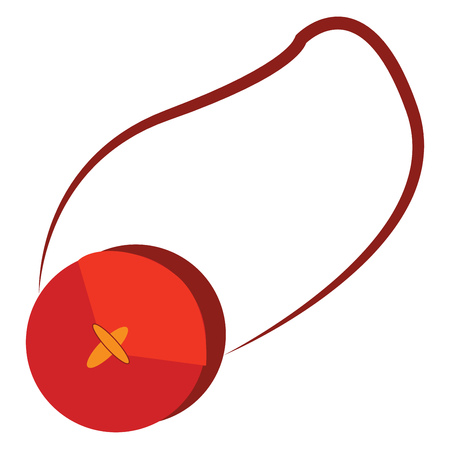A red round bag with a single strap vector color drawing or illustration