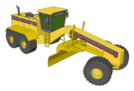 Yellow industrial grader vector illustration on white background Ilustração