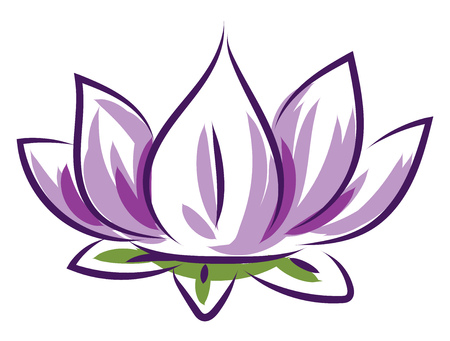 Simple purple lotus vector illustration on white background