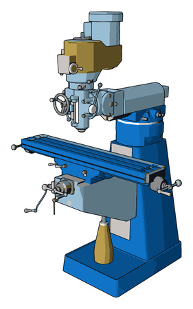 Blue drill press vector illustration on white background