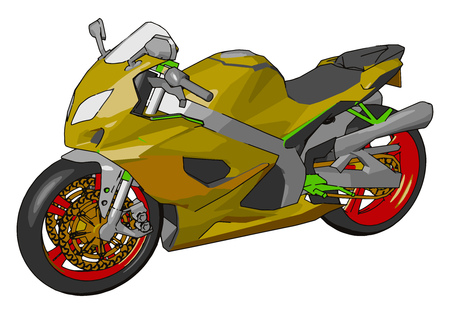3D vector illustration on white background of a colorful  motorcycle Illustration