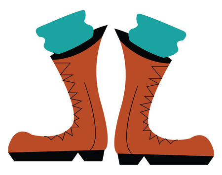A pair of brown cowboy boots worn by a person with green pants vector color drawing or illustration