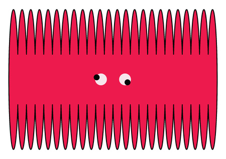 A pink toothcomb with tooth on both the sides having mad eyes vector color drawing or illustration