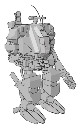 Simple vector illustration of a grey robot standing arm out