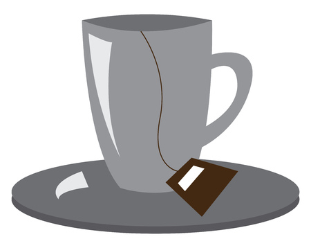 A cup and saucer containing a tea bag vector color drawing or illustration