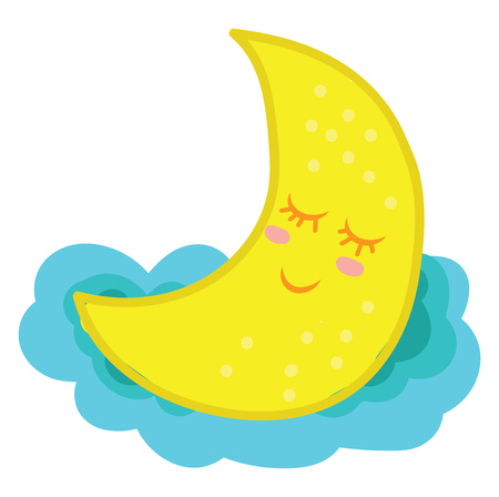A peaceful looking moon sleeping over a cloud vector color drawing or illustration