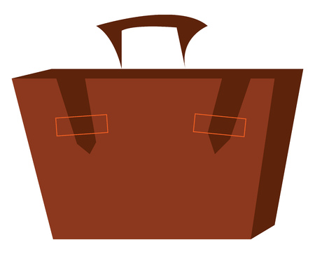 A brown suitcase with a handle vector color drawing or illustration
